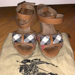 Burberry Strappy Rope Wedge Sandals